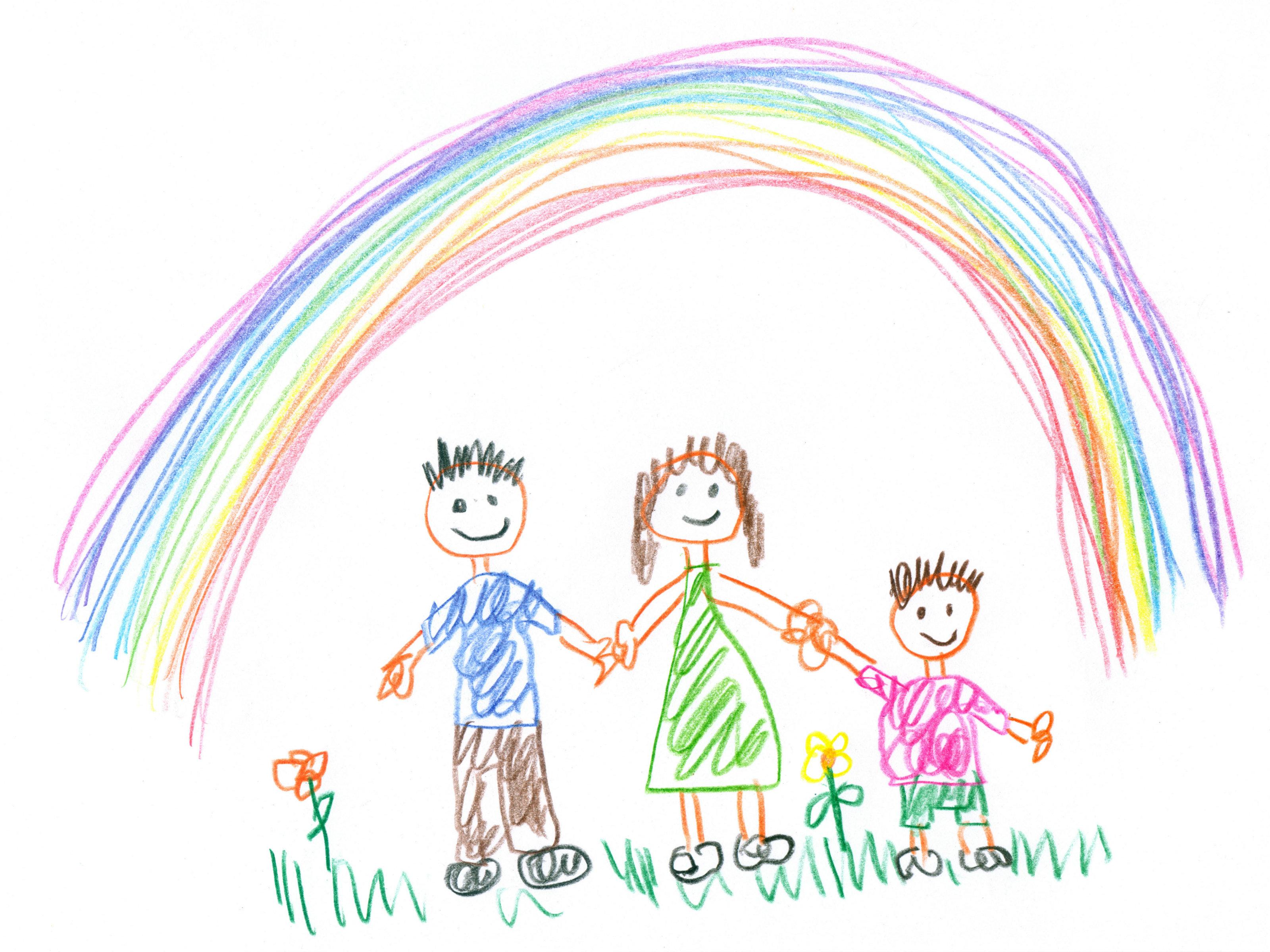 Family under a rainbow