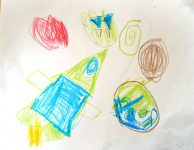 rocket ship and planets child art